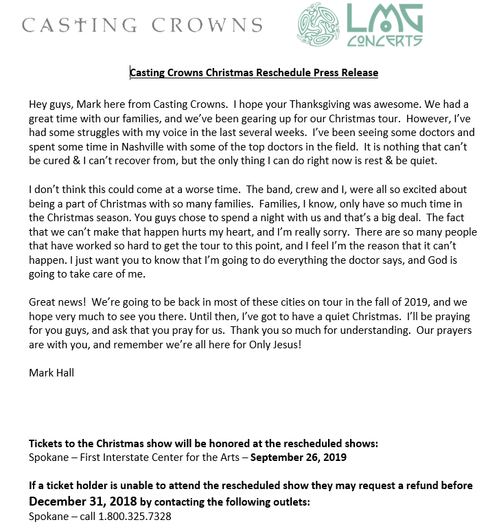 Casting Crowns Its Finally Christmas.Postponed Casting Crowns It S Finally Christmas Tour